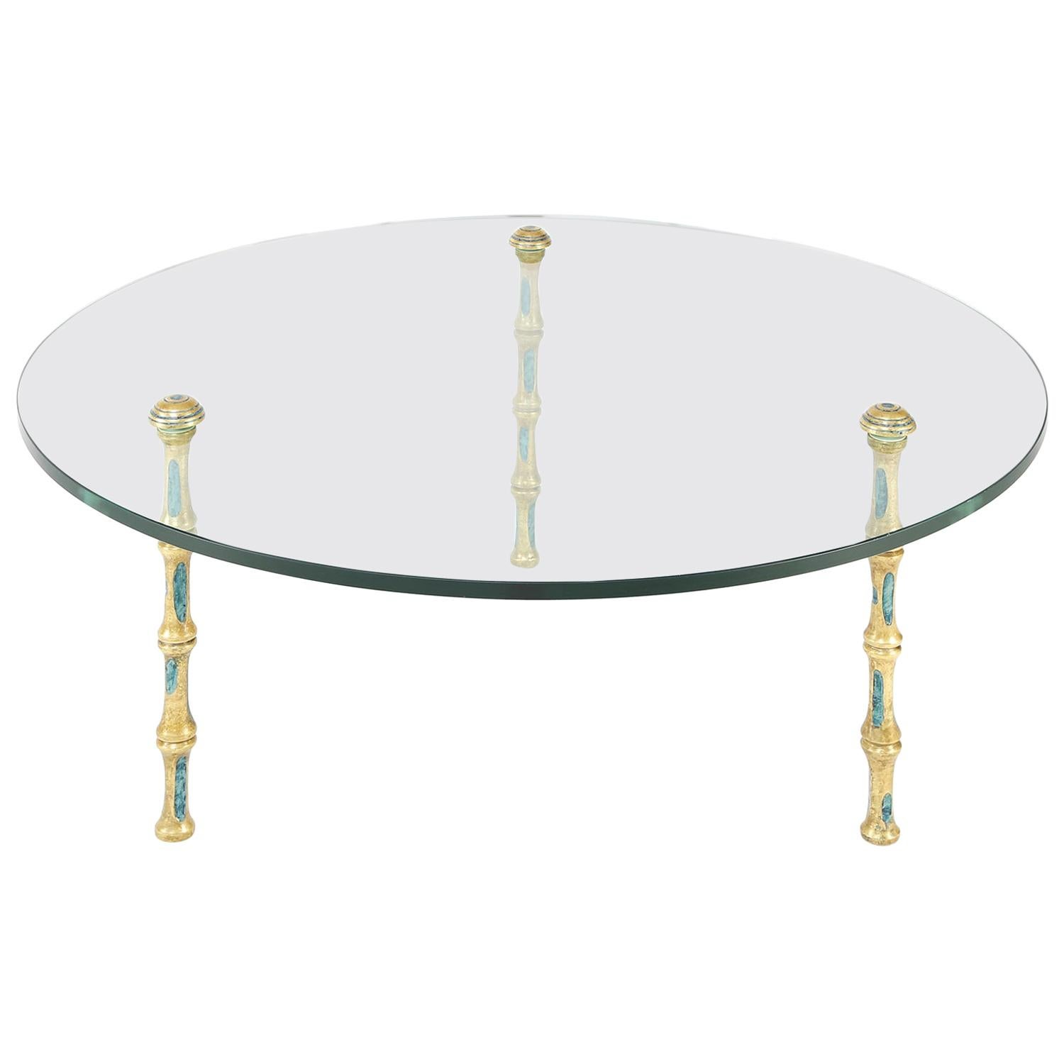 Pepe Mendoza Artisan Bronze Coffee Table with Turquoise Enamels, 1950s 'Signed'