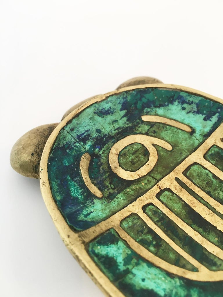 Bronze and ceramic inlay technique, circa 1950.  Designer, Pepe Mendoza ran a foundry in Mexico that produced a limited number of furniture pieces and decorative objects in the late 1950s and 1960s. His work is characterized by a cloisonné type