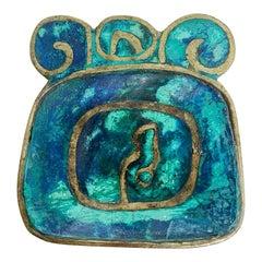 Pepe Mendoza Brass & Malachite Decorative Dish Ashtray 1958 Mexico