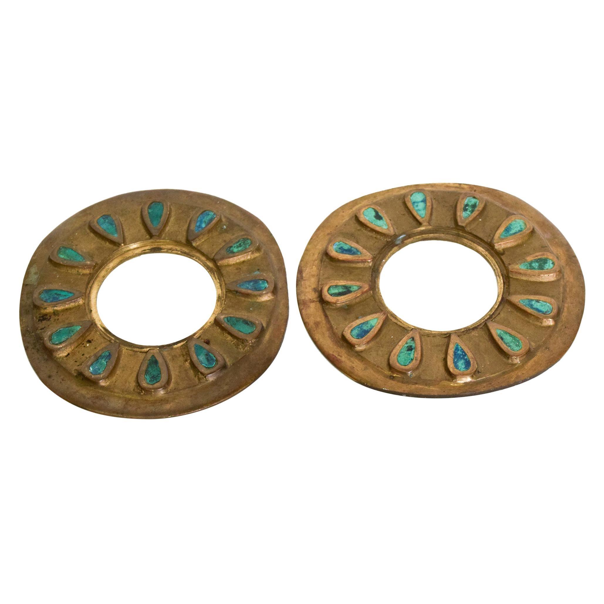Pepe Mendoza Cloisonné Round Door Knob Ring Plate Malachite & Bronze 1958 Mexico
