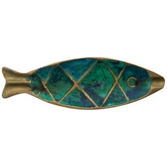 Pepe Mendoza Fun Fish Dish Ashtray in Turquoise Malachite & Bronze 1958 Mexico