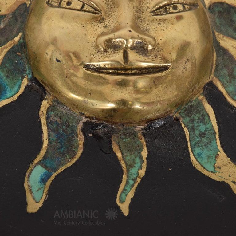 Mid-Century Modern Pepe Mendoza Malachite Sun God on Round Brass Bamboo Table 1950s Modernism For Sale
