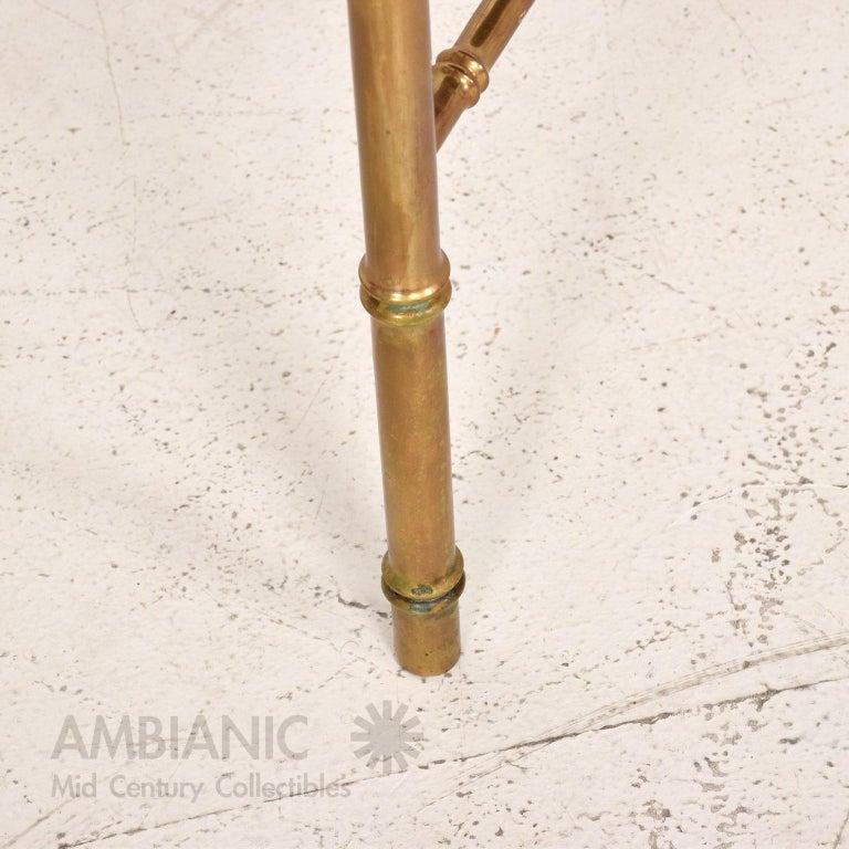 Pepe Mendoza Malachite Sun God on Round Brass Bamboo Table 1950s Modernism For Sale 1