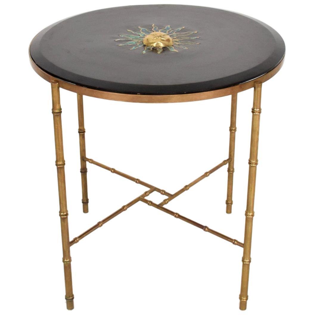 Pepe Mendoza Malachite Sun God on Round Brass Bamboo Table 1950s Modernism