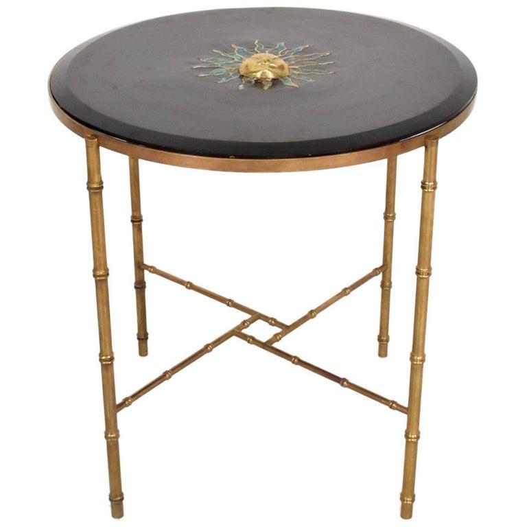 Pepe Mendoza Malachite Sun God on Round Brass Bamboo Table 1950s Modernism For Sale