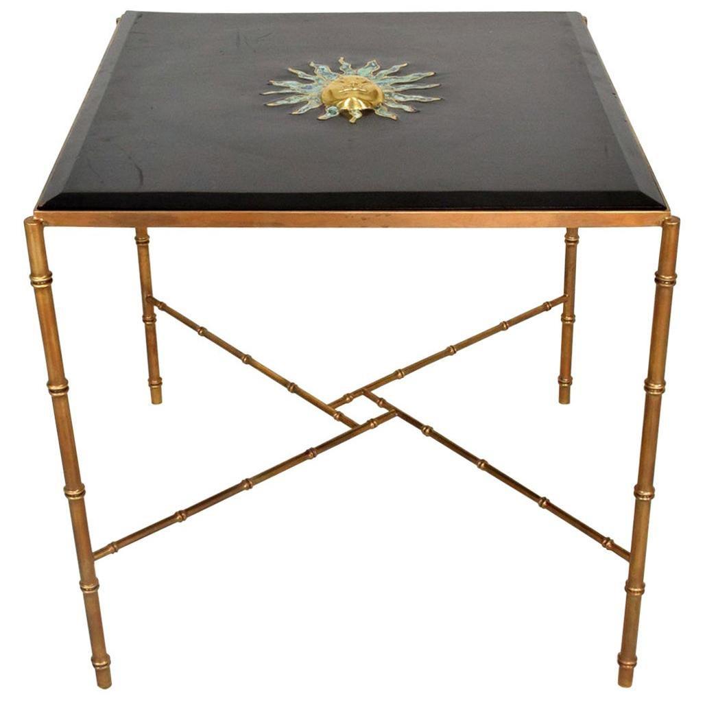 Pepe Mendoza Malachite Sun God on Square Brass Bamboo Table 1950s Modernism