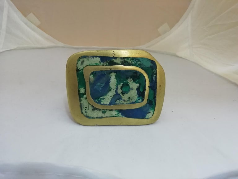 Cast Pepe Mendoza Mexican Mid-Century Modern Bronze and Faux-Turquoise Door Pull For Sale