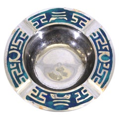 Pepe Mendoza Mexican Mid-Century Modern Silver-plate & Turquoise Dish