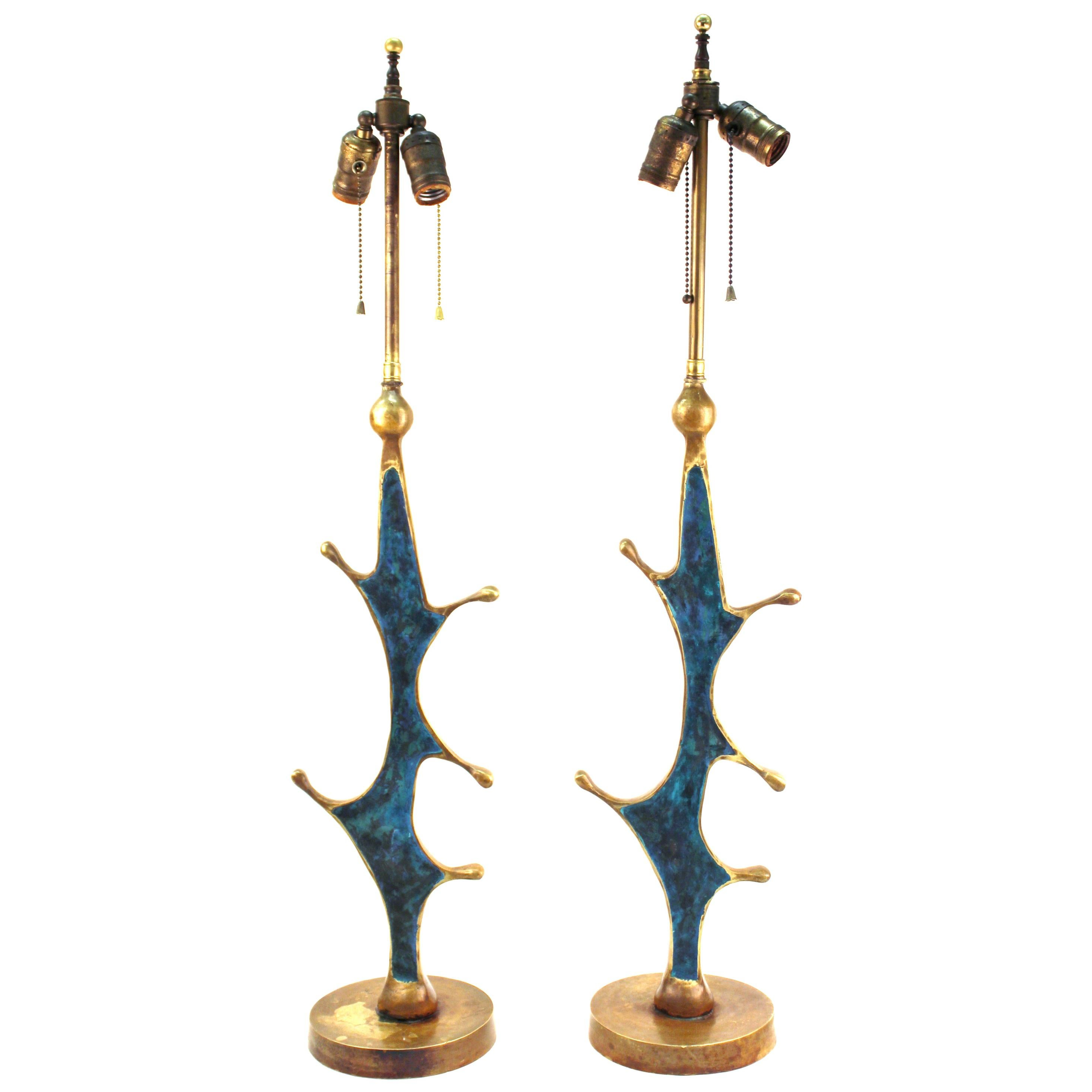 Pepe Mendoza Mid-Century Modern Table Lamps with Turquoise Inlay