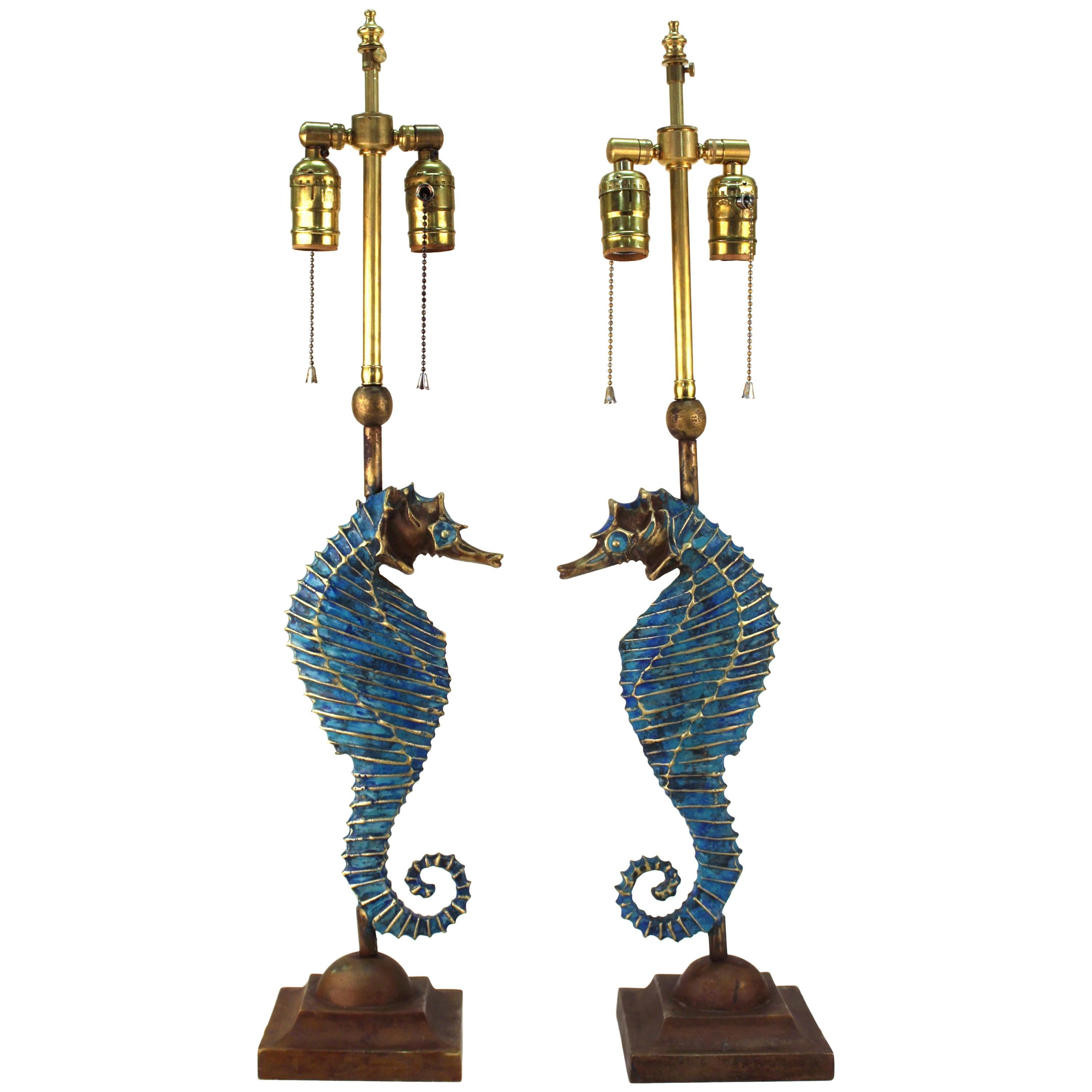 Mid-century Seahorse Table Lamps after Pepe Mendoza