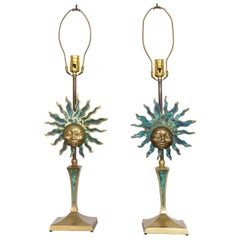 Pepe Mendoza Pair of Vibrant Sun God Table Lamps Bronze Malachite, 1950s