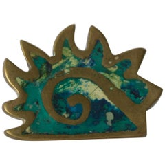 Pepe Mendoza Maya Codex Pull Handle in Bronze Turquoise Inlay  Mexico 1958
