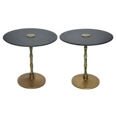 Pepe Mendoza Sharp Black Stone Side Tables with Malachite & Bronze 1950s Modern