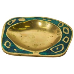 1958 Pepe Mendoza Spectacular Turquoise and Brass Gold Dish Midcentury Modernism