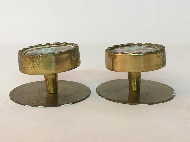 Mid-Century Modern Pepe Mendoza Style Brass and Abalone Hardware Knobs For Sale