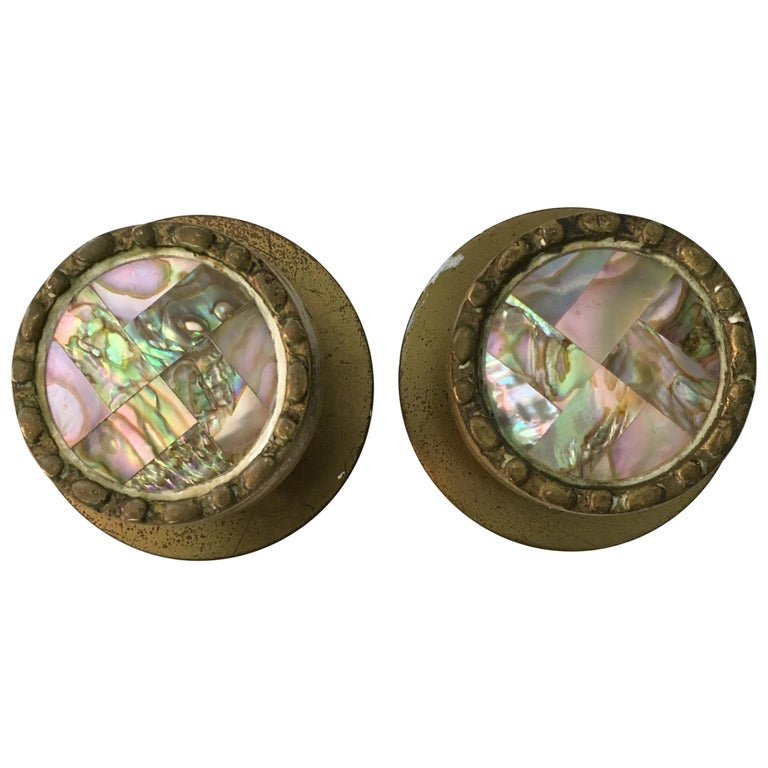 Pepe Mendoza Style Brass and Abalone Hardware Knobs For Sale