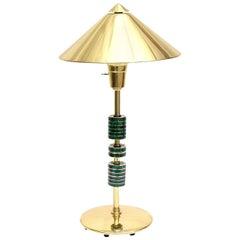 Pepe Mendoza Style Polished Brass, Bronze and Malachite Lamp Mid-Century Modern