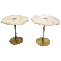 Pepe Mendoza Sublime Round Side Tables in Marble Malachite and Bronze 1950s