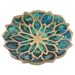 "Pepe Mendoza Turquoise Ceramic Inlay and Brass ""Lotus"" Dish, circa 1950s"