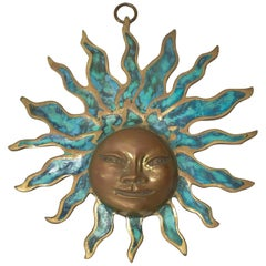 Pepe Mendoza Wall Plaque Sun God Sculpture in Bronze and Turquoise - Mexico 1958