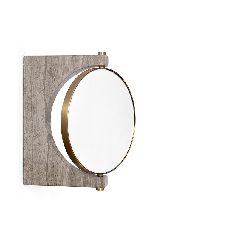 The Classic standing mirror gets a functionalist update with this new wall attachment. The focus on materials and quality makes the Pepe marble mirror timeless.