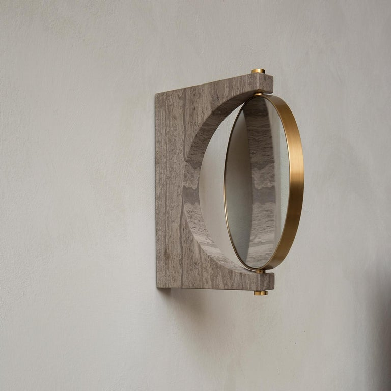 Chinese Pepe Wall Marble Mirror, Brass & Honed Brown Marble