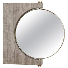 Pepe Wall Marble Mirror, Brass & Honed Brown Marble