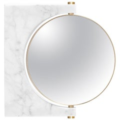Pepe Wall Marble Mirror, Brass & White Marble