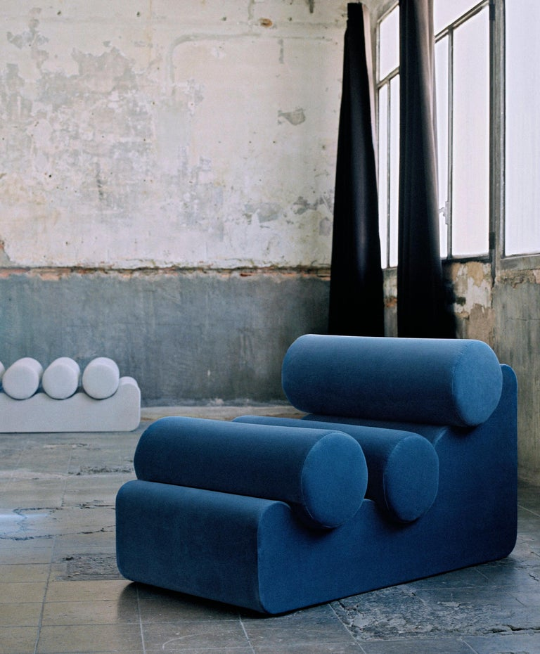 Pepino chair by Owl Dimensions: L 112 x W 70 x H 60 cm Materials: Plywood base, upholstered   La Pepino is a collection of only seating, which consists of the repetition of cylindrical cushions, supported by an organically shaped base. Every