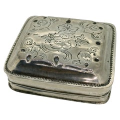 Peppermint Box, Antique, Dutch Biedermeier, Hand Engraved, Schoonhoven, 1850