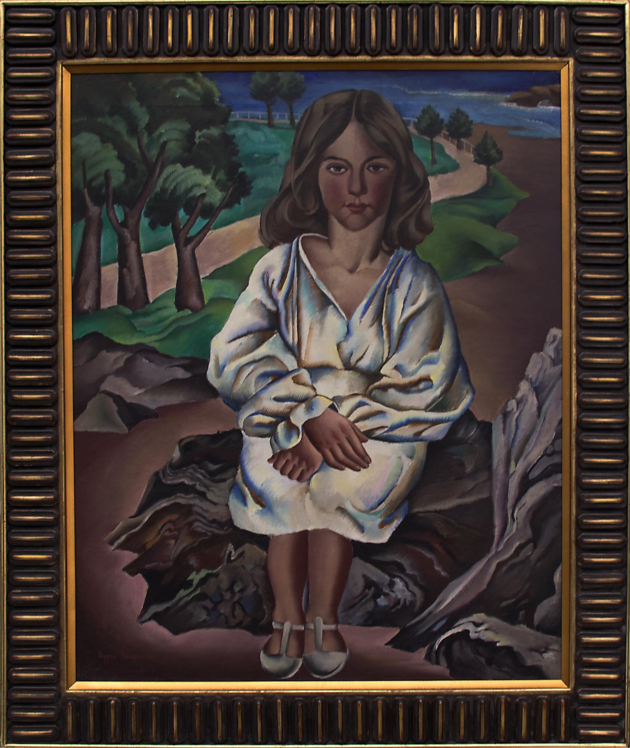 Dora (Modernist Portrait of a Girl at the Seaside with Trees & Rocks)
