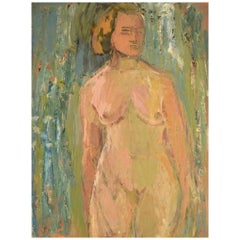 Per Lindekrantz, Swedish Artist, Oil on Board, Nude Study
