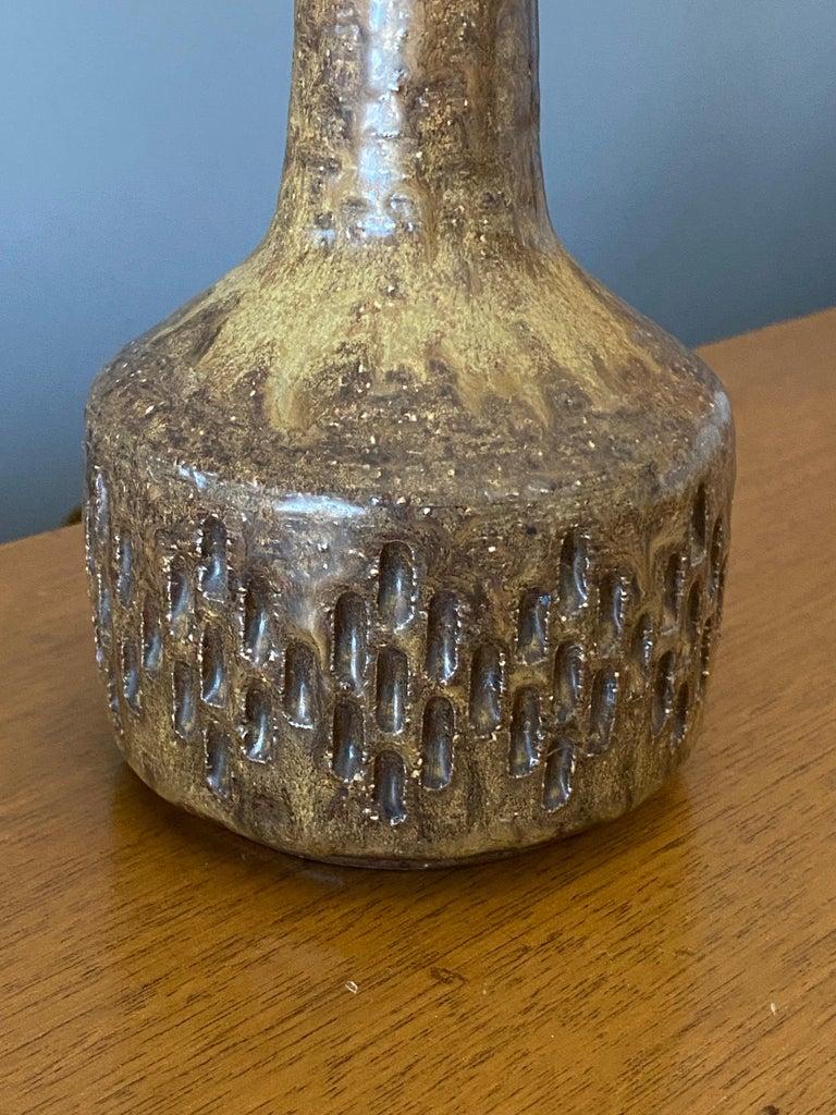 Danish Per Linneman-Schmidt, Table Lamp, Ceramic, Fabric, Palshus, Denmark 1960s For Sale
