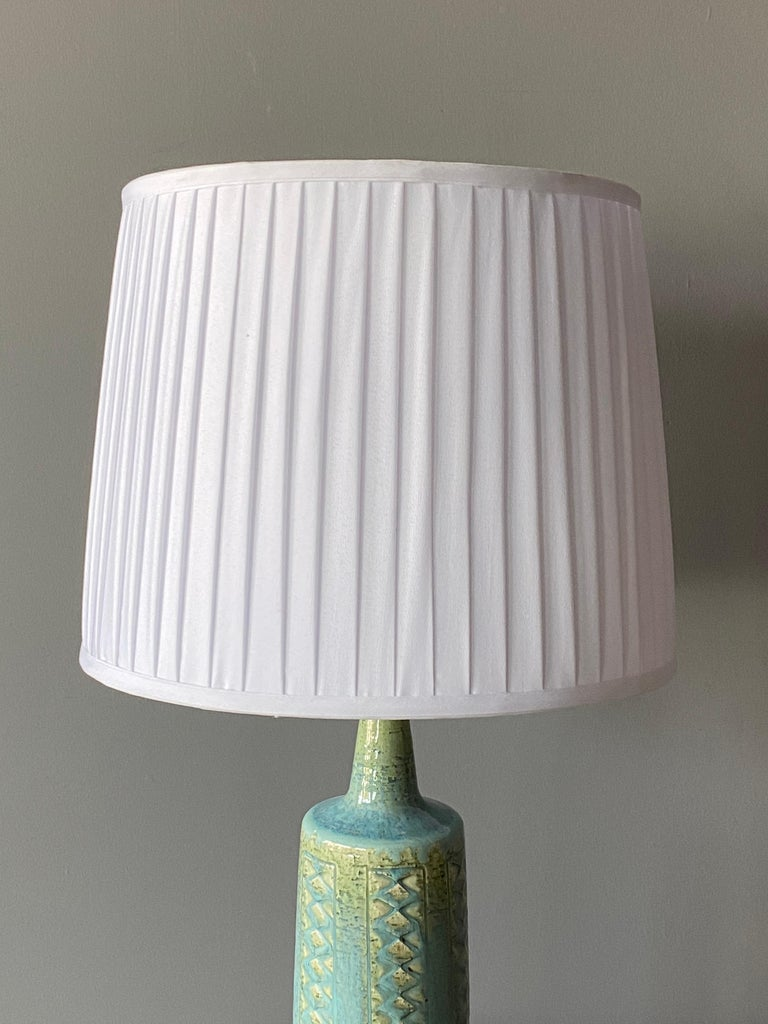 Danish Per Linneman-Schmidt, Table Lamp, Stoneware, Fabric, Palshus, Denmark, 1960s For Sale