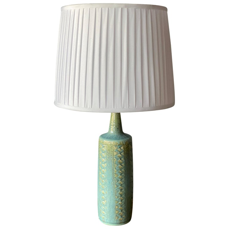 Per Linneman-Schmidt, Table Lamp, Stoneware, Fabric, Palshus, Denmark, 1960s For Sale