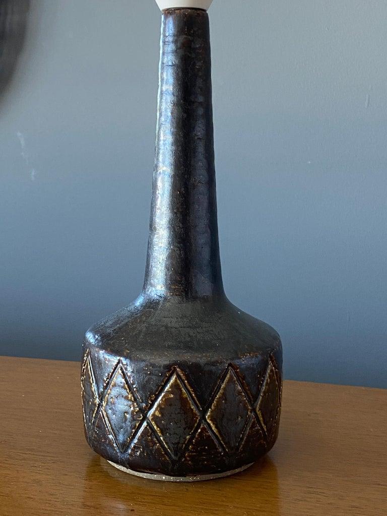 Danish Per Linneman-Schmidt, Table Lamps, Ceramic, Fabric, Palshus, Denmark, 1960s For Sale
