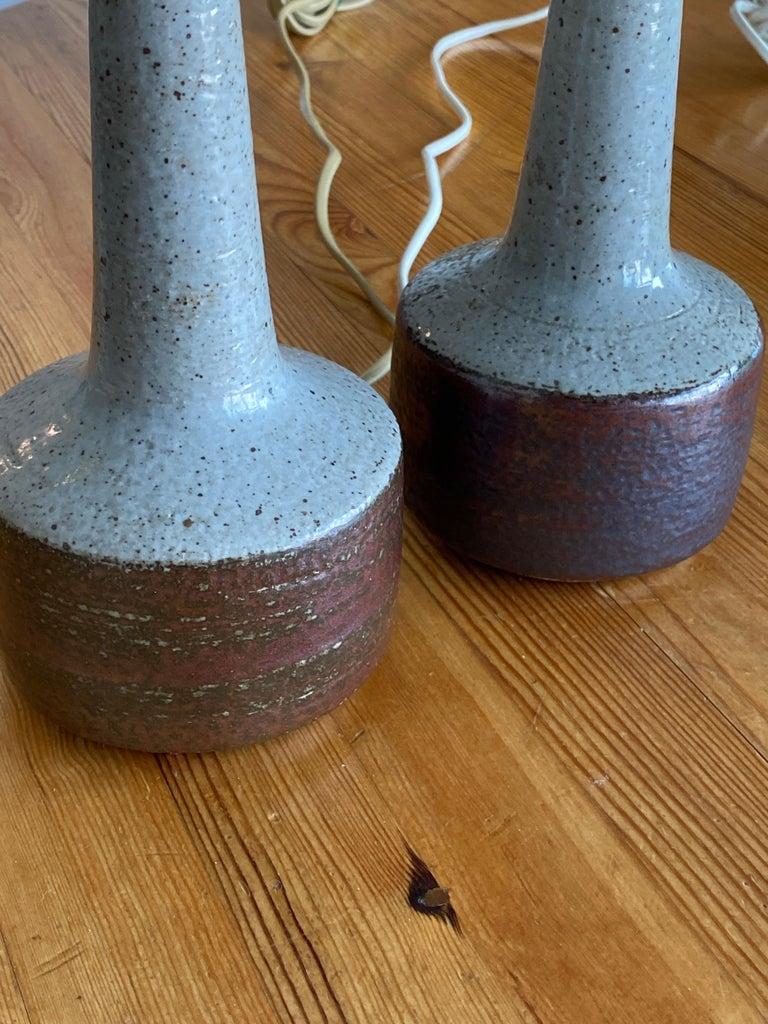 Per Linneman-Schmidt, Table Lamps, Ceramic, Fabric, Palshus, Denmark, 1960s In Good Condition For Sale In West Palm Beach, FL