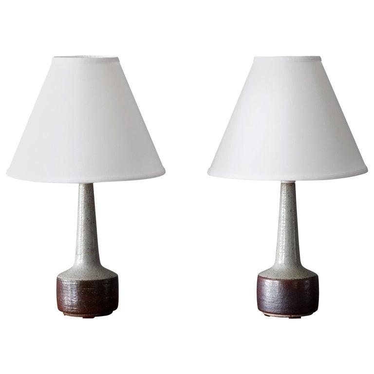 Per Linneman-Schmidt, Table Lamps, Ceramic, Fabric, Palshus, Denmark, 1960s For Sale