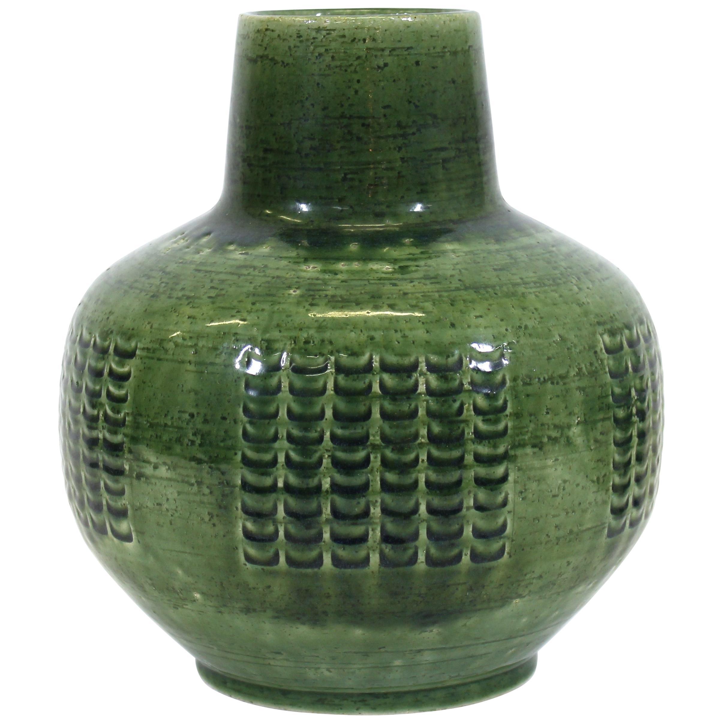 Per Linnemann-Schmidt for Palshus Danish Modern Green Glaze Ceramic Vase