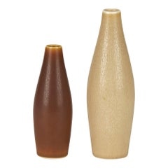 Per Linnemann-Schmidt for Palshus Two Haresfur Glazed Art Pottery Vases