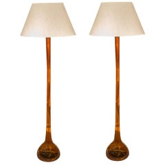 Per Lutken, Pair of Floor Lamps, Holmegaard, Denmark, circa 1950