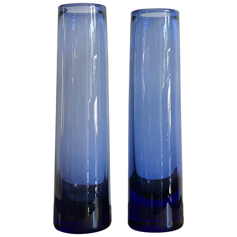 Per Lutken Scandinavian Mid-Century Modern Blue Glass Vases, Holmegar, 1960s