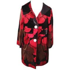 PER NON DORMIRE Red & Black Floral Pattern VELVET COAT Size 40