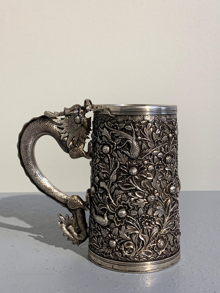 Peranakan Chinese Export Silver Tankard with Dragon Handle, 19th Century For Sale 1