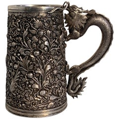 Peranakan Chinese Export Silver Tankard with Dragon Handle, 19th Century