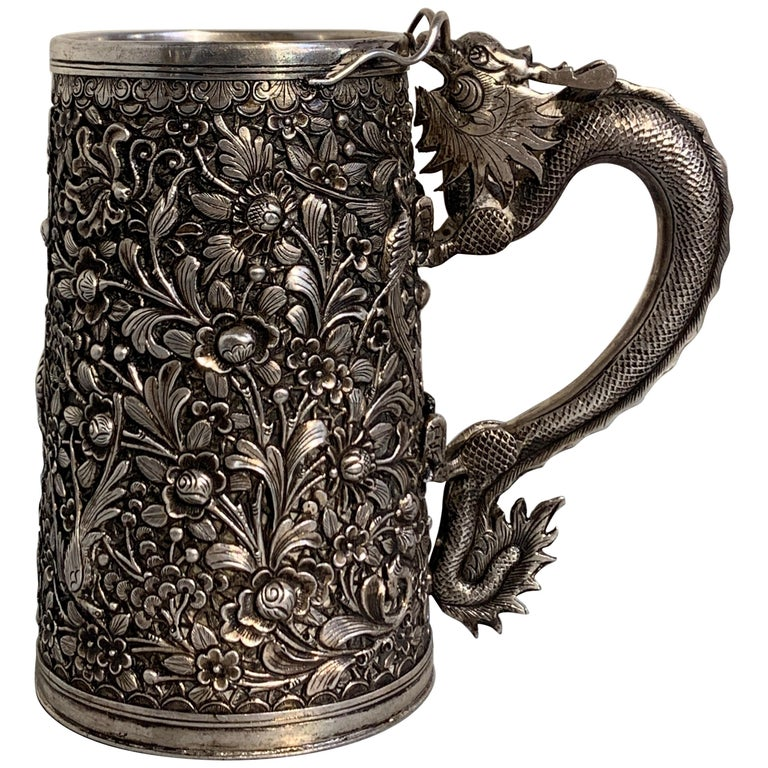 Peranakan Chinese Export Silver Tankard with Dragon Handle, 19th Century For Sale