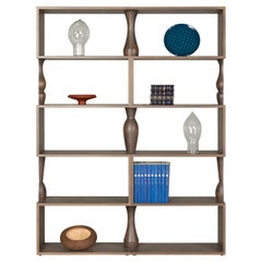 Perbacco, Contemporary Bookcase in Ash Wood with Turned Columns, by Morelato
