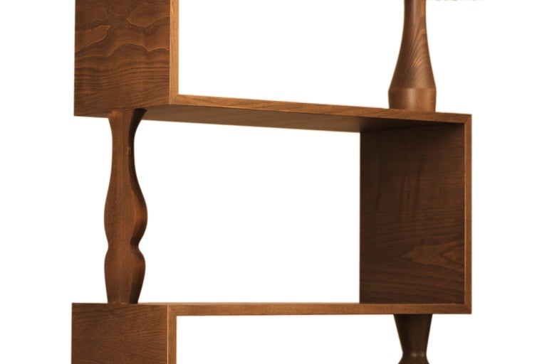 Hand-Crafted Perbacco, Contemporary Bookcase Made of Ash Wood with Hand Turned Columns For Sale