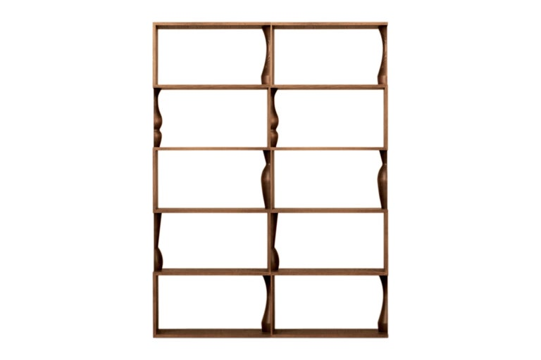 Perbacco, Contemporary Bookcase Made of Ash Wood with Hand Turned Columns For Sale 1