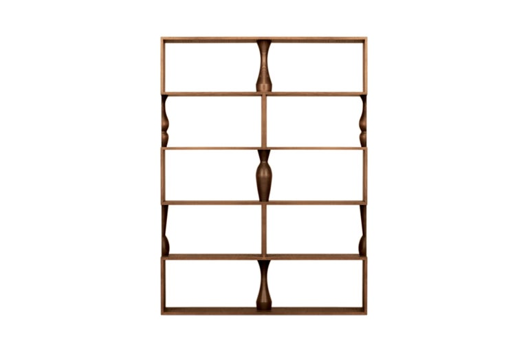 Perbacco, Contemporary Bookcase Made of Ash Wood with Hand Turned Columns For Sale 2